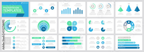 Set of grey, green, turquoise and blue elements for multipurpose presentation template slides with graphs and charts Fototapet