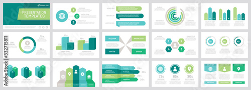 Fotografija Set of grey and green, turquoise, blue elements for multipurpose presentation template slides with graphs and charts
