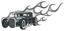 Rat Rod On A Background With F...