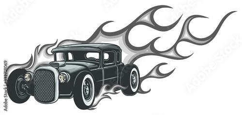 Fotografie, Obraz Rat rod on a background with flames. Vector illustration.
