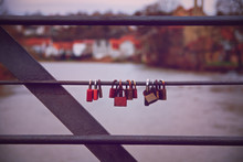 Romantic Lover Padlocks On A B...