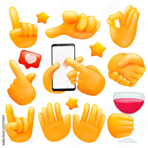 Carta da parati Set of various emoji yellow hand icons with wineglass, smartphone different gestures
