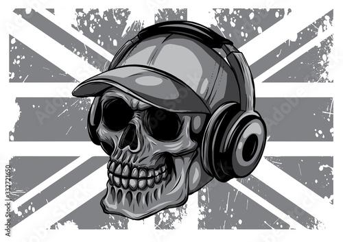monochromatic Skull and Flag Great Britain. vector illustration Fototapet