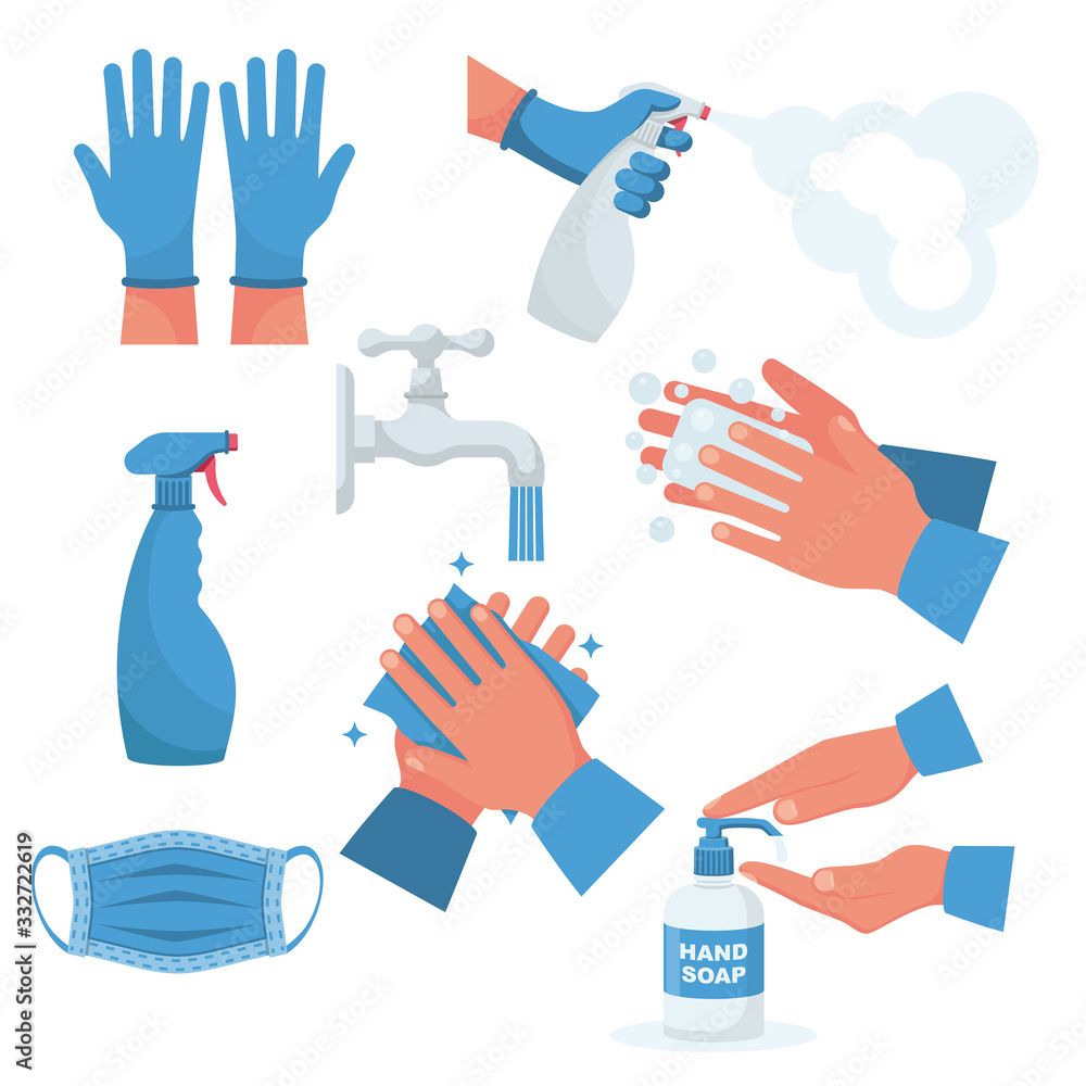 Fototapeta Prevention set. Rubber gloves on hands, medical mask. Bottle of antiseptic spray. Antibacterial flask. Disinfectant concept. Vector flat design. Coronavirus protection. Hand washing water with soap.