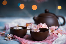 Tea Set And Spring Cherry Blos...