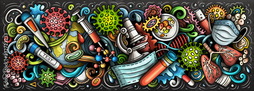 Obraz Coronavirus hand drawn cartoon doodles illustration. Colorful vector banner - fototapety do salonu