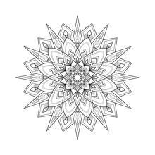 Black And White Round Mandala ...