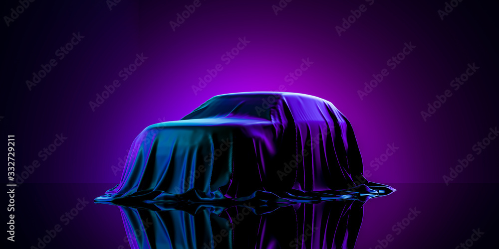 Fototapeta Presentation Of Car Covered With Cloth on Dark Illuminated By Violet Neon Light Background. 3d rendering