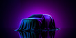 Presentation Of Car Covered With Cloth on Dark Illuminated By Violet Neon Light Background. 3d rendering