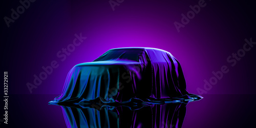 Obraz Presentation Of Car Covered With Cloth on Dark Illuminated By Violet Neon Light Background. 3d rendering - fototapety do salonu
