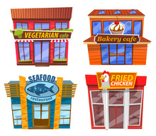 Four Isolated Fast Food Cafes,...
