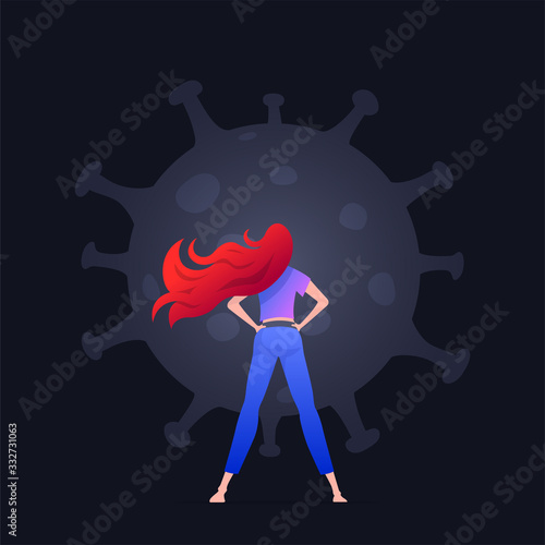 Obraz The girl is standing in front of Covid-19 virus and protecting herself. - fototapety do salonu