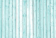 canvas print picture - Fence made of wooden planks in cyan tone.