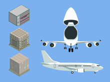 Beautiful Vector Of 'air Cargo Concept' For Info Graphic Included Cargo Airplane Front Side With Open Cockpit  And Rear Side With Isometric View Of Container And Pallet ULD Package Vintage Retro Style