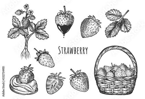 Papel de parede Sweet strawberry dessert set