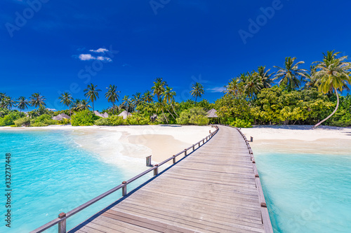 Amazing tropical landscape, beach scenery, long jetty into paradise island. Summer beach view, palm trees on white sandy beach. Tranquil tropical nature