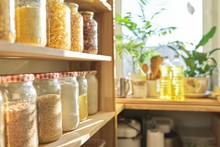 Wooden Shelves In Pantry For F...