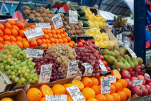 Fruit Market With Various Colo...