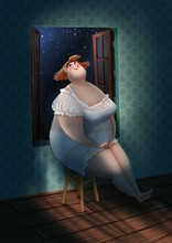 Chubby Girl Sitting At The Window In The Moonlight
