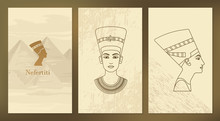 A Set Of Vector Illustration Of The Queen Of Egypt Nefertiti Profile.