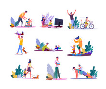 Set Of Parents Enjoying Parenting And Walking With Children. Fathers And Mothers People Playing, Painting, Doing Sports Together With Daughters And Sons Kids. Family Leisure Flat Illustration