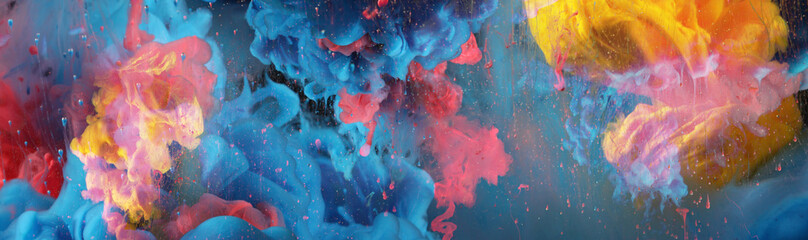 Acrylic colors and ink in black water. Ink blot. Abstract background. Horizontal long banner.
