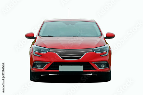 Obraz red passenger car on a white background front view - fototapety do salonu