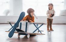 Two Little Boys In Retro Pilot...