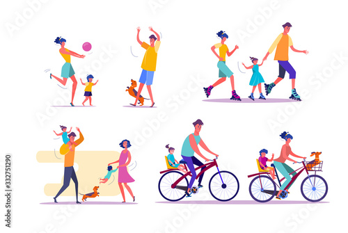 Family outdoor activities set. Parents and children cycling, playing ball, roller skating. People concept. illustration for topics like leisure, movement, active lifestyle