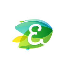 Letter E Logo In Dynamic Leaves Intersection Shape.