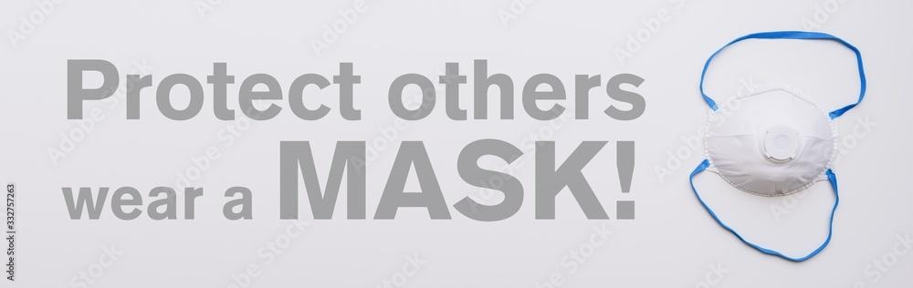 Fototapeta Anti virus protection mask ffp3 standart to prevent corona COVID-19 infection