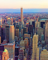 Panel Szklany Nowy York Aerial view on Midtown district of Manhattan reflex