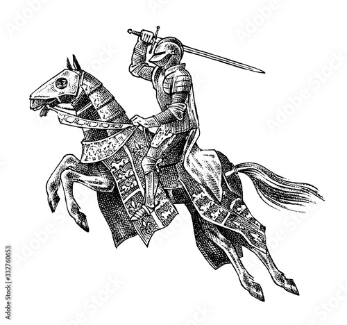 Medieval armed knight riding a horse Fototapet