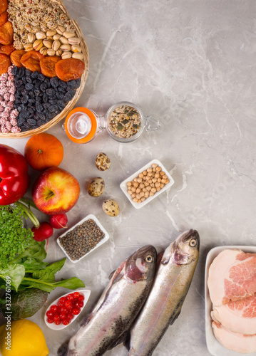 selection foods with anti inflammatory vitamins A, B, C, D, E Wallpaper Mural