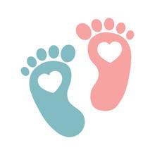 Twin Baby Girl And Boy Feet Pr...