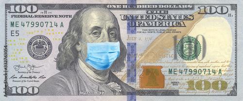 Fotomural 100 bills with Benjamin Franklin in a medical mask