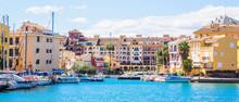 Port Sa Playa, Valencia, Spain - 3/19/2019: Bright Sunny Day Panoramic Photo Looking At Port Saplaya, Valencia's Little Venice