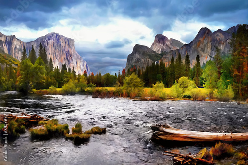 Photo Mountains Yosemite Valley River Reflection