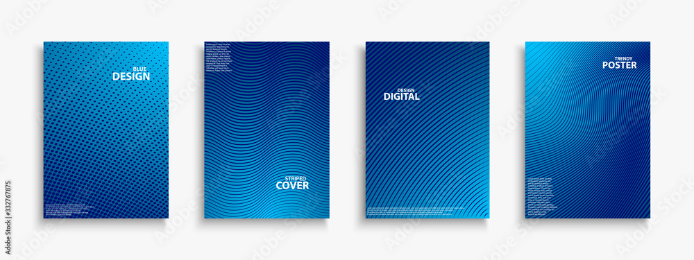 Fototapeta Collection of blue digital contemporary covers, templates, posters, placards, brochures, banners, flyers and etc. Abstract striped futuristic backgrounds with gradient. Halftone technology design