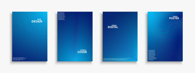 Collection of blue digital contemporary covers, templates, posters, placards, brochures, banners, flyers and etc. Abstract striped futuristic backgrounds with gradient. Halftone technology design