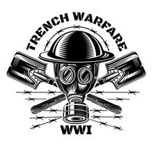 Trench Warfare. Gas Mask And Military Helmet With Crossed Trench Showels
