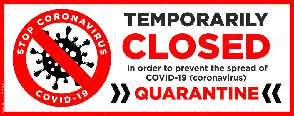 Fototapeta sorry, we are closed quarantine door plate