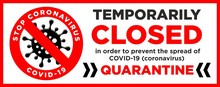 Sorry, We Are Closed Quarantin...