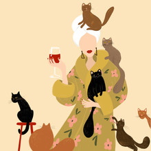 Lonely Beautiful Woman And A Lot Of Cats. Lady With A Towel On Her Head And In A Dressing Gown With A Glass Of Red Wine. Feminism. Girl And Red, Black Cat. Red Lips And Manicure. Use As  Cover, Card
