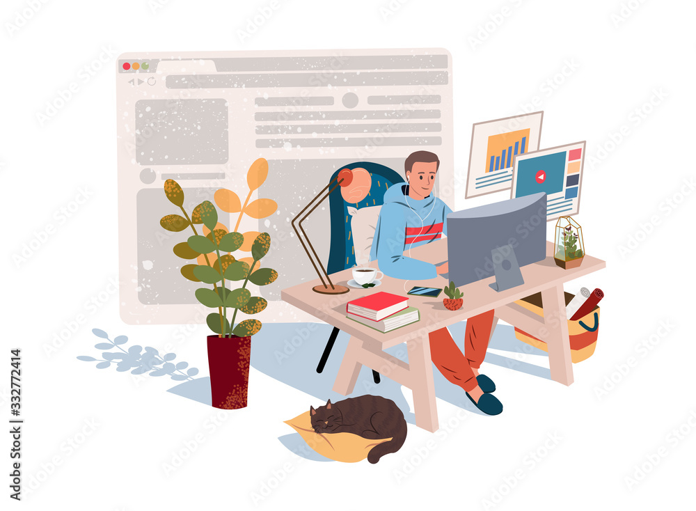 Fototapeta Home Office in Quarantine time (coronavirus). Freelancer guy working at home with pets and plants. Social distancing and self-isolation during covid-19 virus quarantine. Vector illustration
