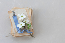 Blue Ribbon Bookmark With Silver Rabbit On Top Of Antique Papers; Small Bouquet Of Dogwood On Top Of Book
