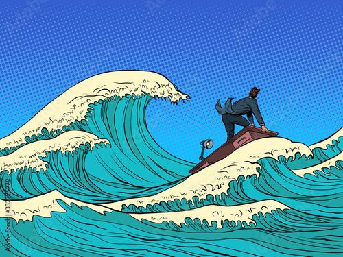 Fototapeta businessman waves of the economic storm crisis obraz
