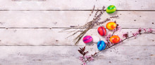 Colored Easter Egg On Wood Bac...