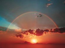 Sunset And  Colorful Rainbow A...