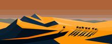 Camel Caravan Going Through The Desert On Sunset, Vector Illustration